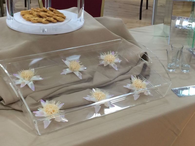Clear canapé tray with removable top for decoration : Swipe To View More Images