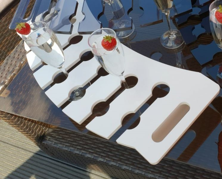 White acrylic champagne tray: Swipe To View More Images