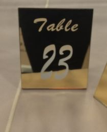 Mirrored gold engraved table numbers : Click Here To View Larger Image